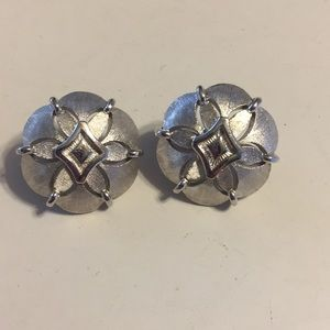 Vintage Trifari silver tone clip earrings